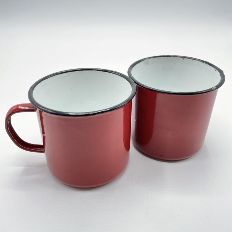 mug emaille rouge vintage