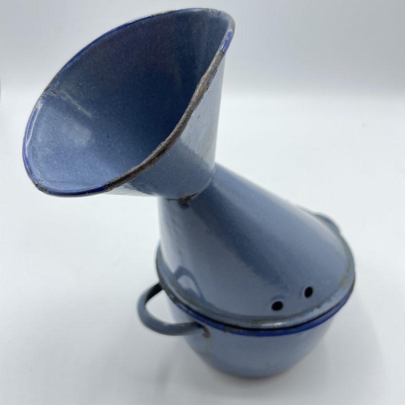 inhalateur vintage emaille bleu