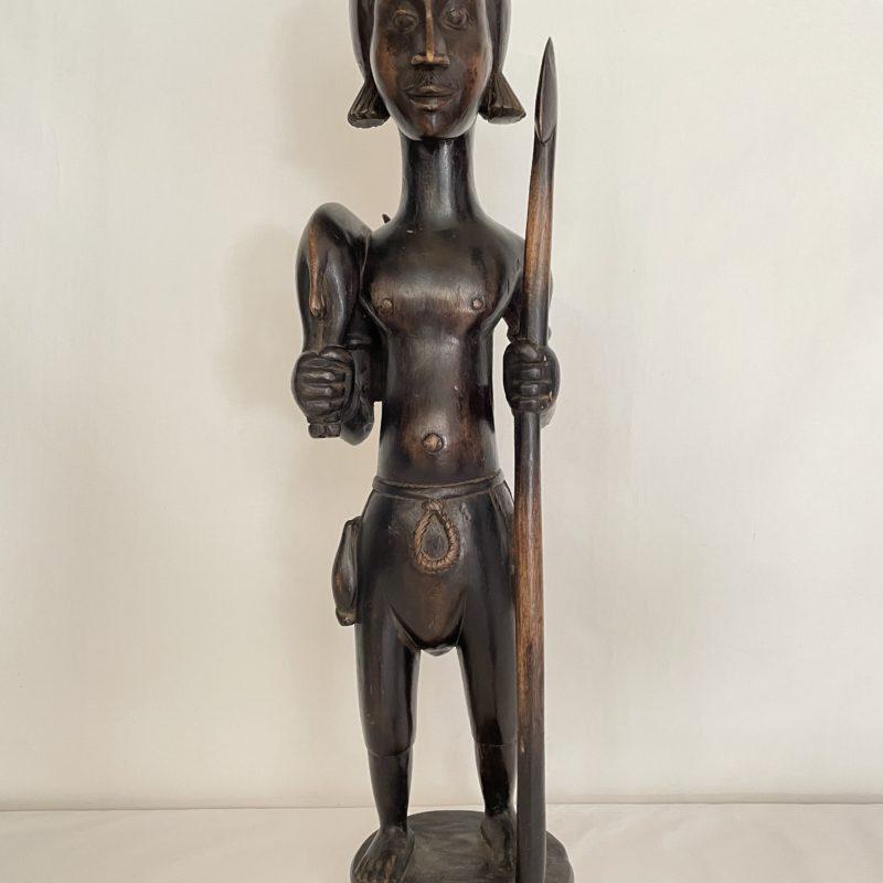 sculpture ebene afrique chasseur