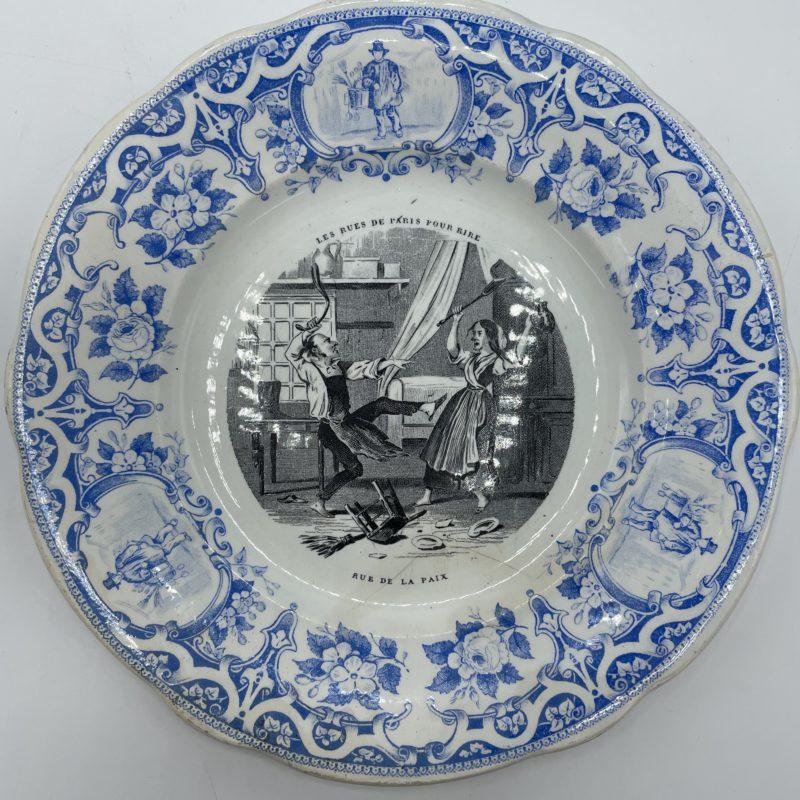 assiette creil montereau rue de paris vintage