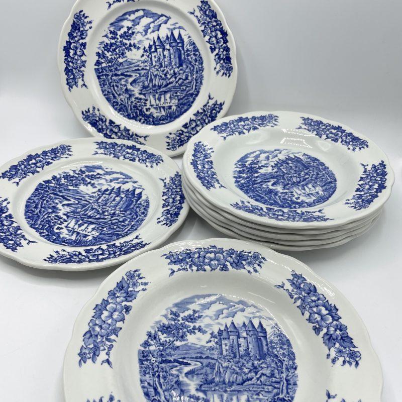 assiette vntage porcelaine pyroblan bleu