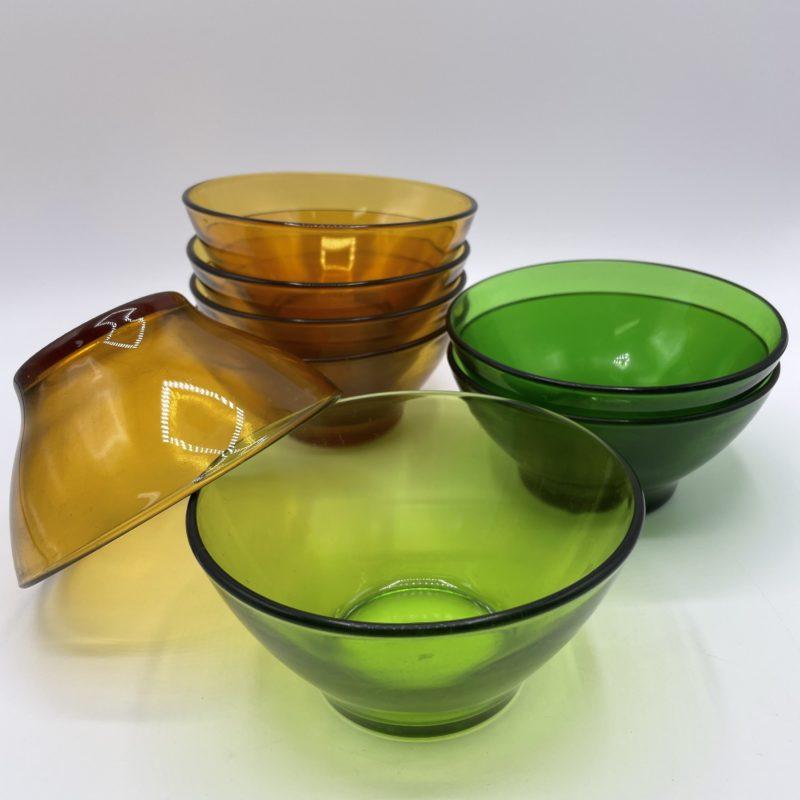 bol vintage verre ocre vert duralex verreco