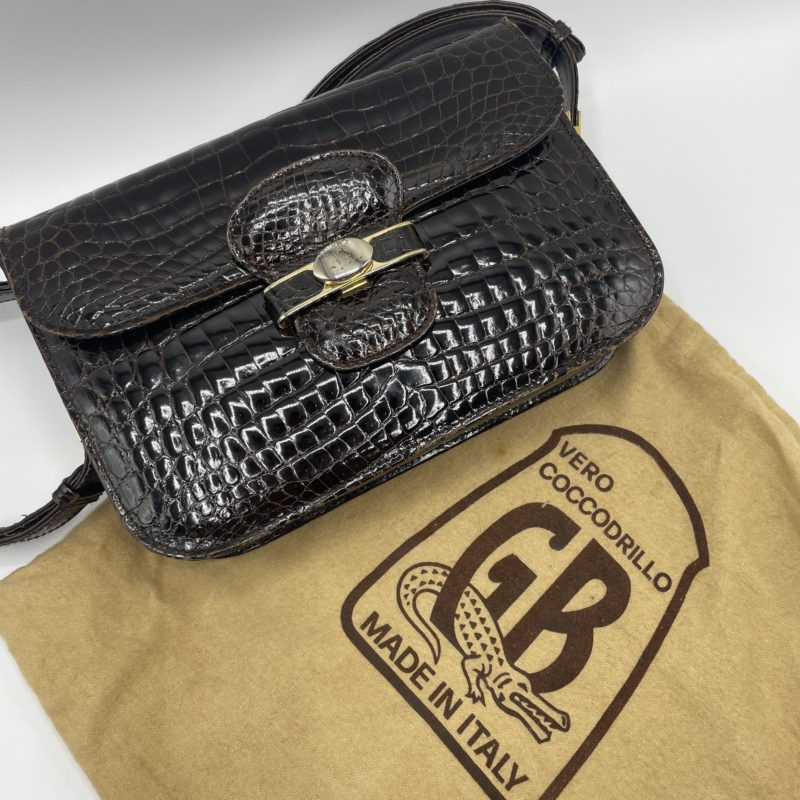 pochette gb italy cuir crocodile vintage
