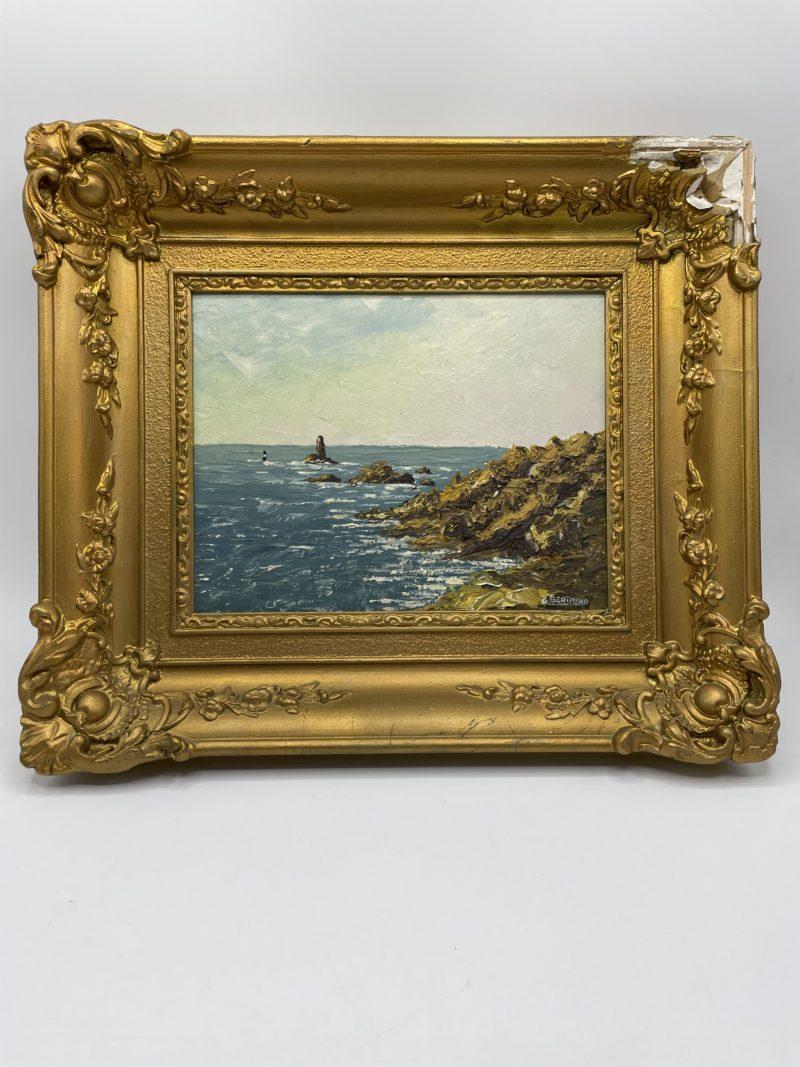tableau peinture huile bois mer paysage bretagne