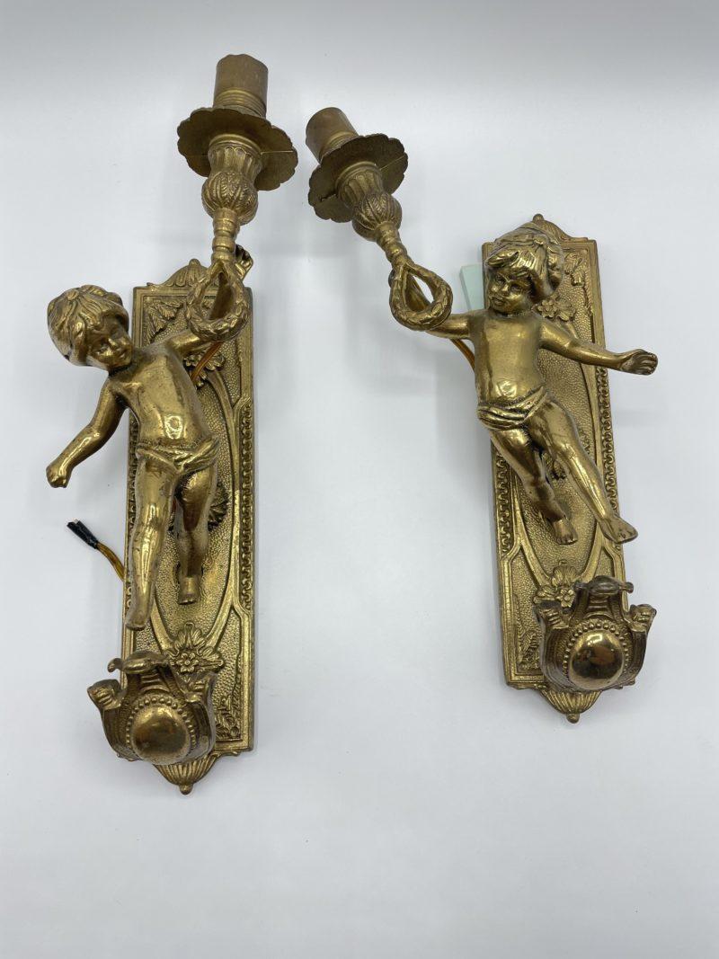 appliques bronze ange angelot cherubin vintage