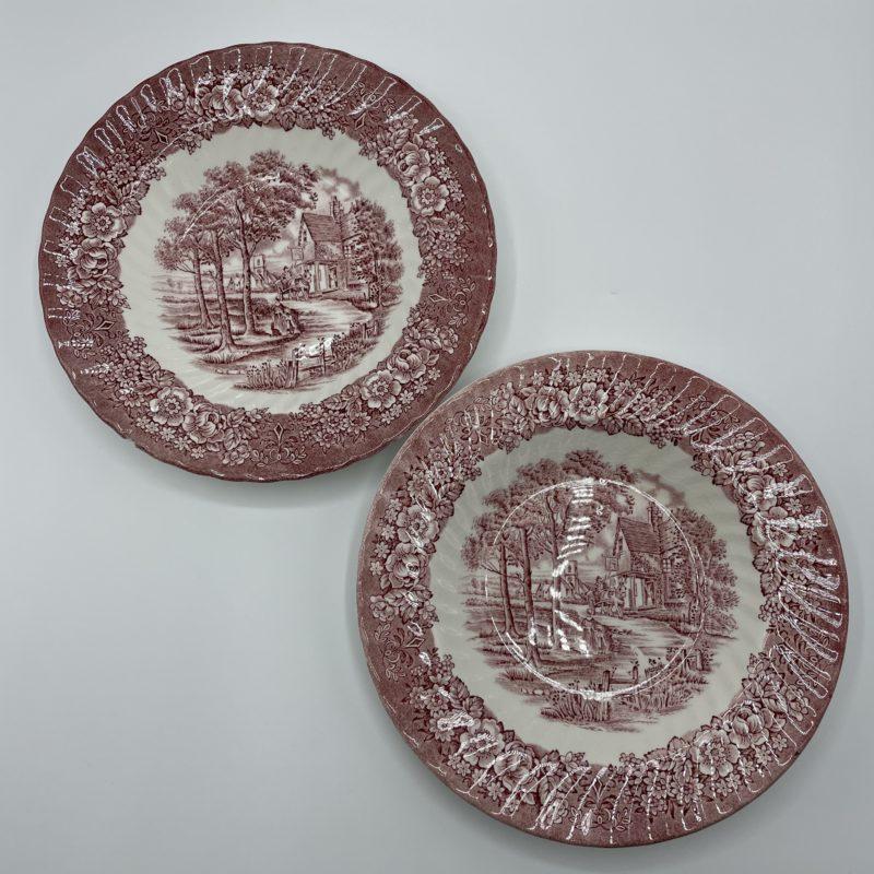assiete vintage rose faience anglais