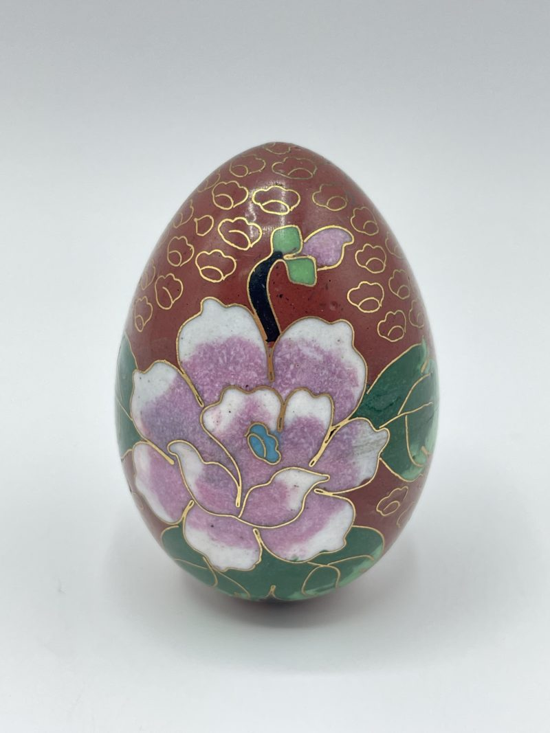 oeuf chinois email cloisonne rouge
