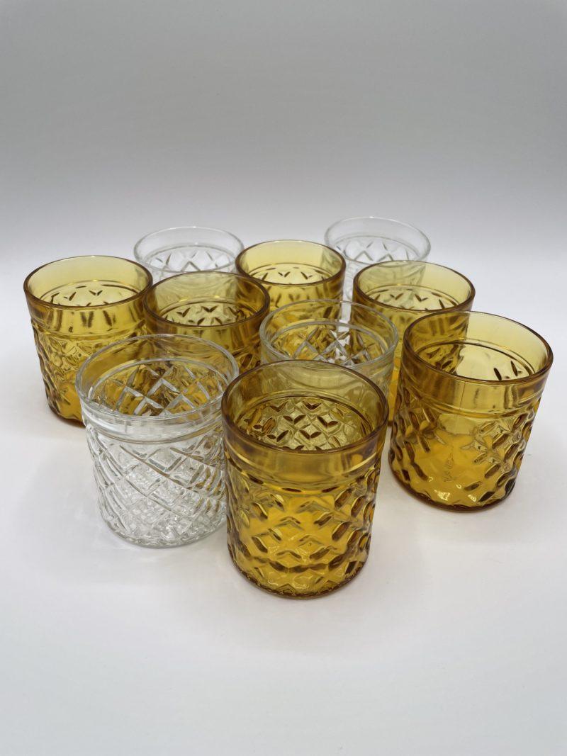 verres depareilles vintage pernod ambre ocre