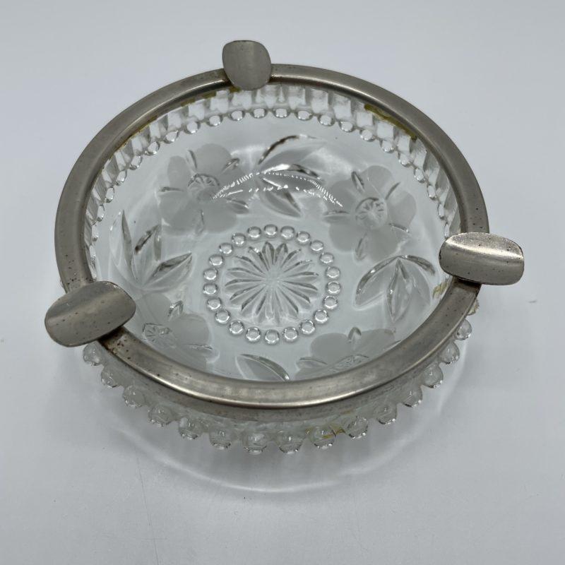 cendrier vintage verre metal cristal