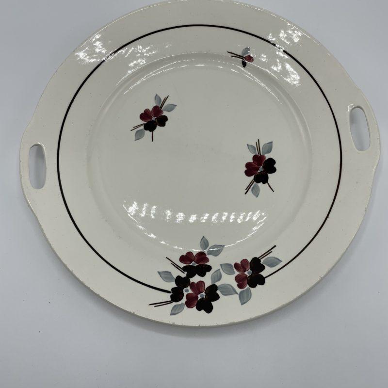 assiette plat vintage saint amand porcelaine fleur