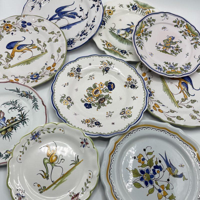 assiettes depareillees intage faience moustiers ceramique