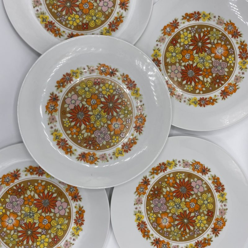 assiette vintage fleur orange pop hippie