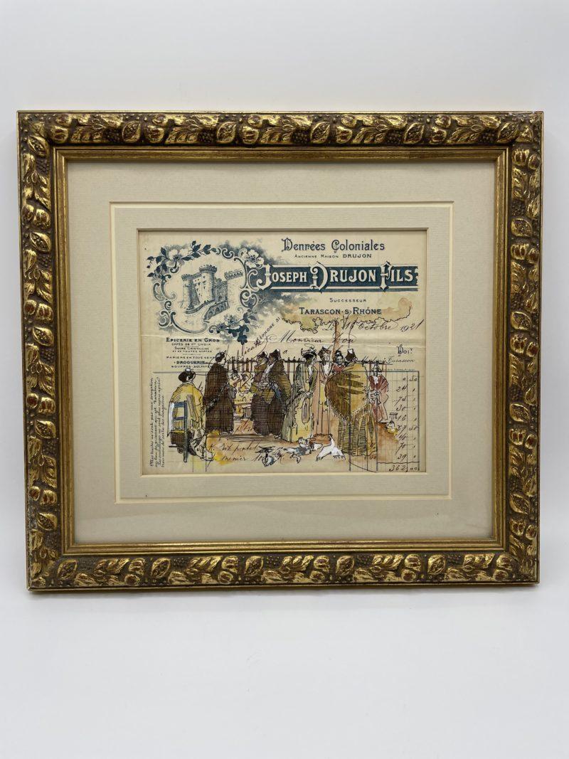 illustration cadre deco vintage facture 1921 colonial deco