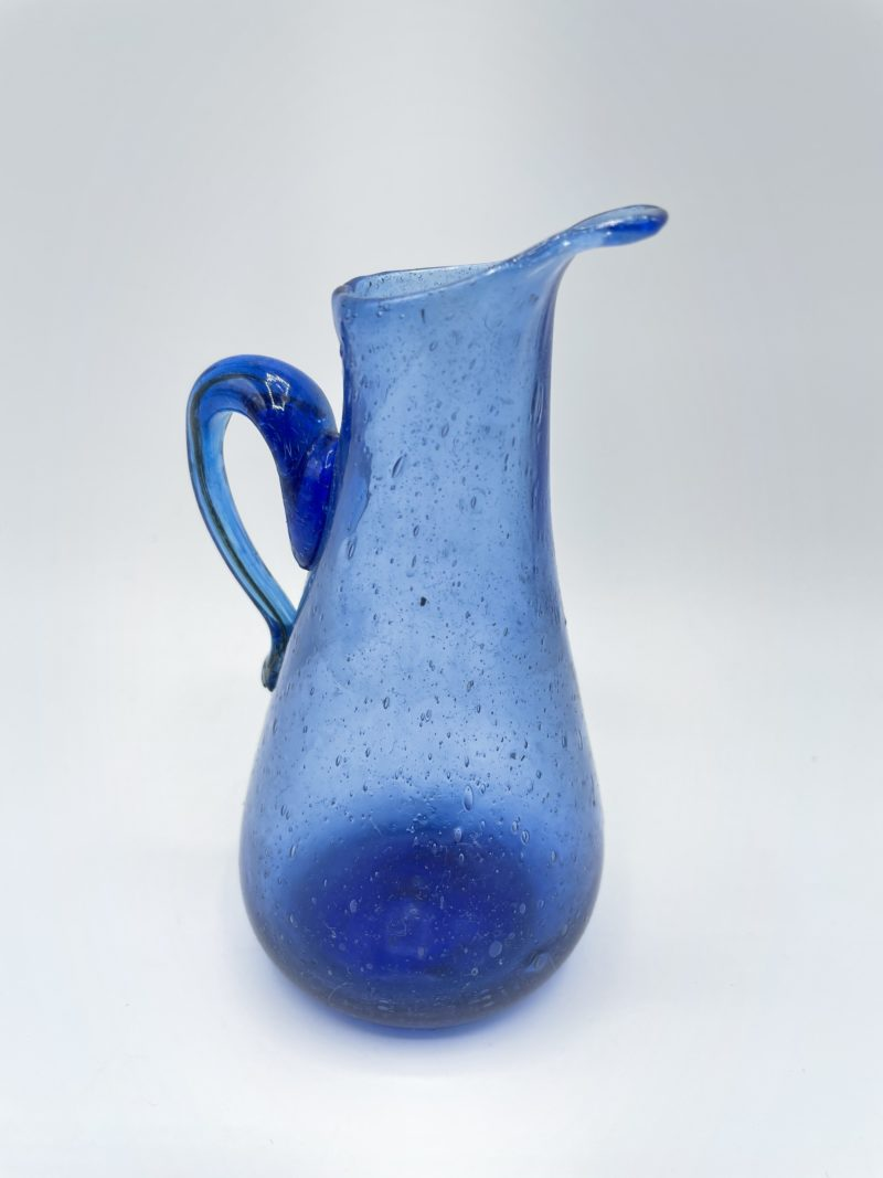 bibelot carafe deco verre souffle bleu