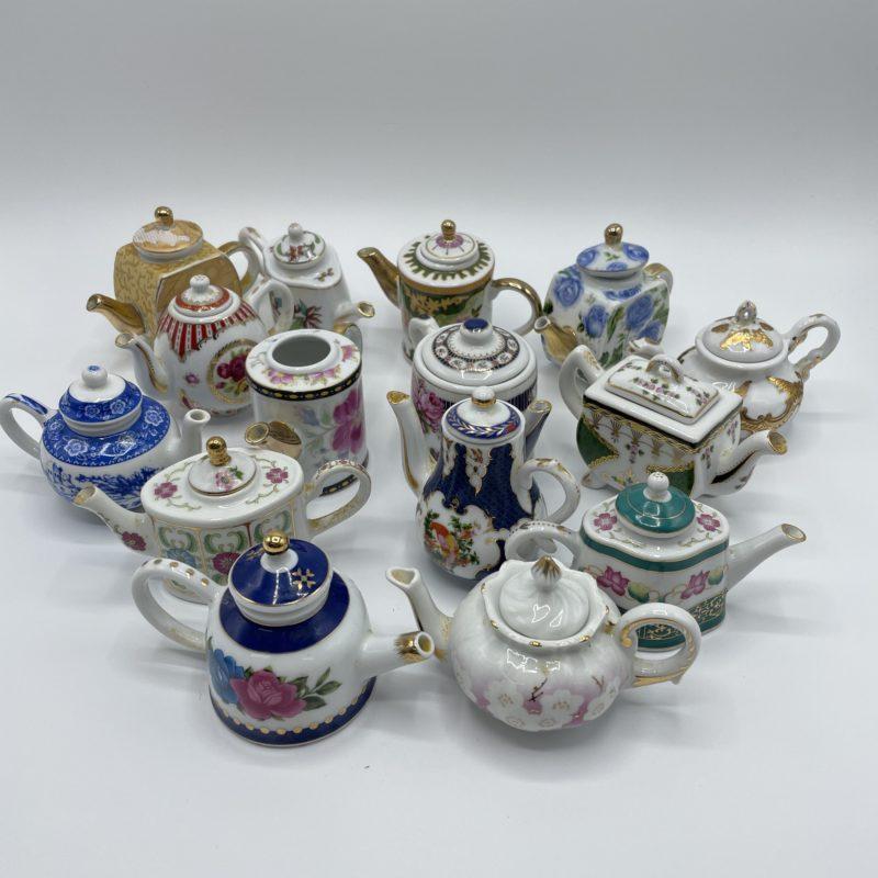 collection theiere miniature porcelaine vintage art