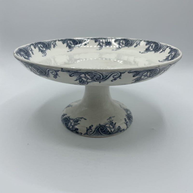 compotier vintage faience pernelle blanc bleu