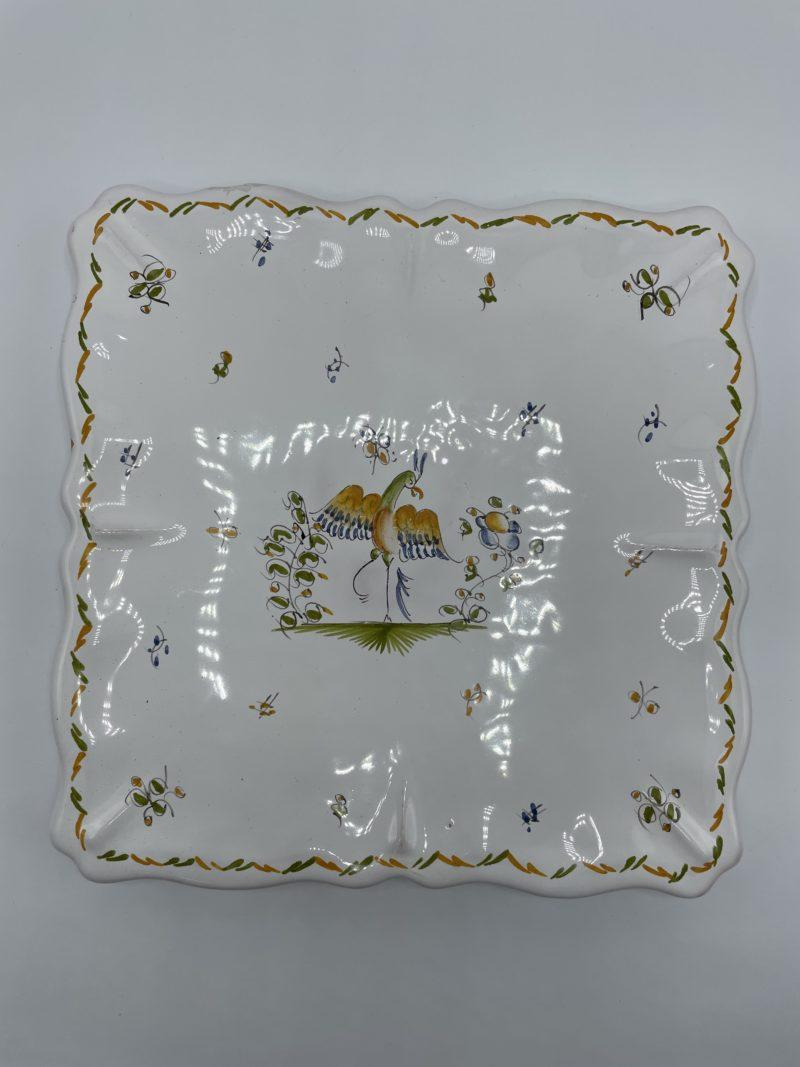 dessous plat carre vintage moustiers ceramique faience blanc oiseau