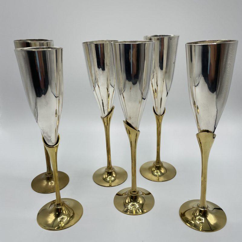 flute champagne laiton metal argent