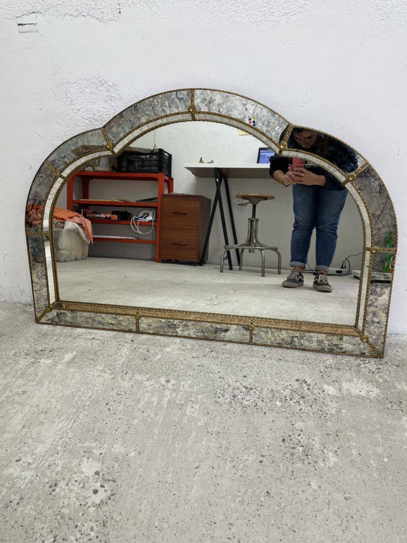 grand miroir vintage facette annees 70