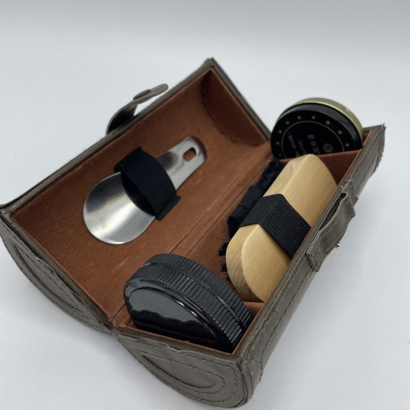 etui kit cirage chaussures cuir vintage