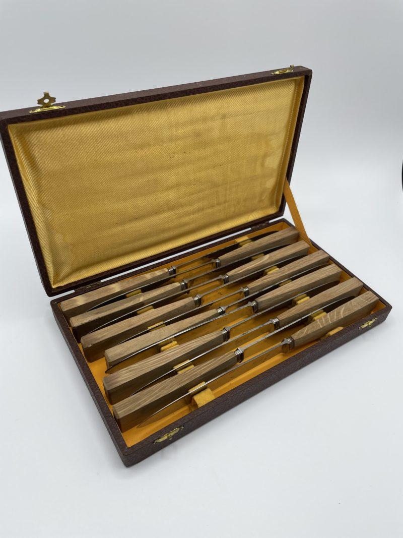 menagere couteaux anciens acier bois