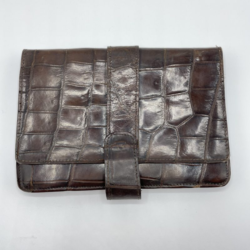pochette vintage cuir crocodile