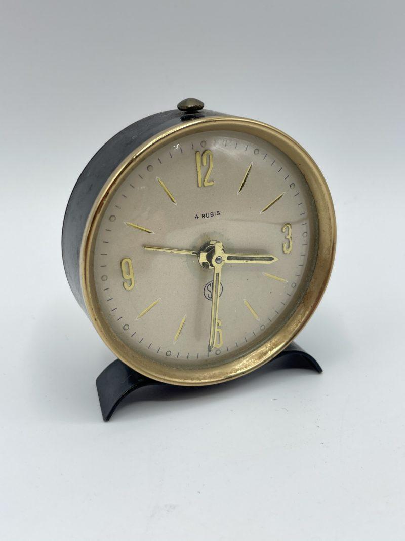 reveil vintage noir dore horloge