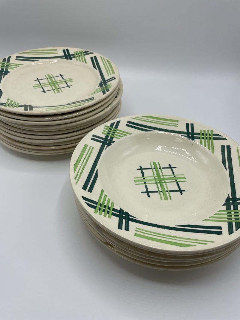 service assiettes faience vintage vert