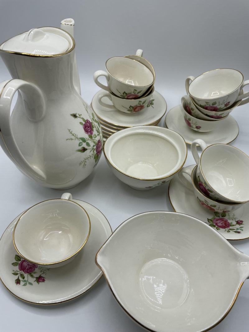 service the cafe porcelaien gien pompadour rose vintage