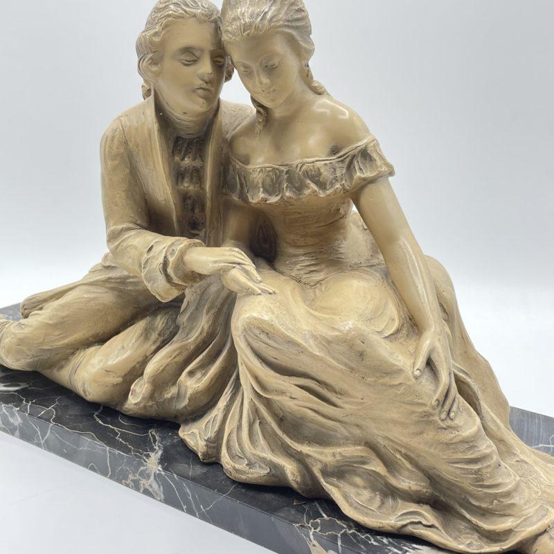statue sculpture marbre couple plateau deco