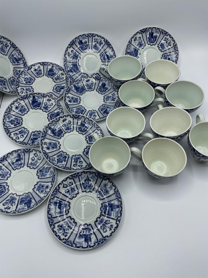 tasses soucoupe bleu hollande vintage vaisselle