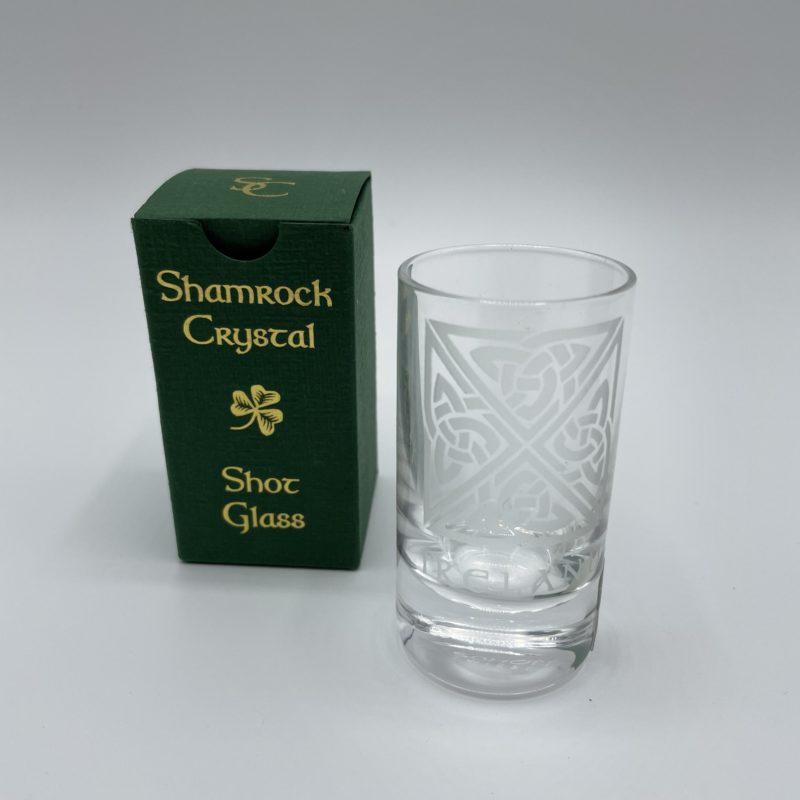 verre shot cristal irlande shamrock crystal