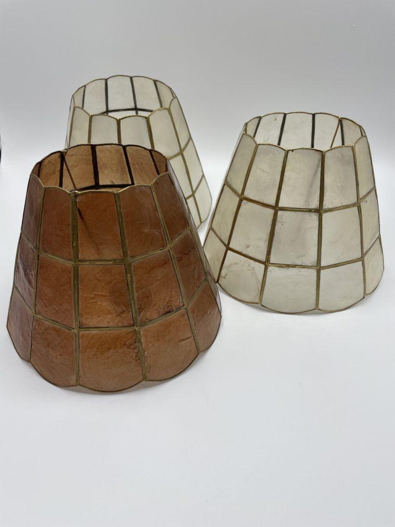 abat jour vintage lampe nacre laiton ecaille