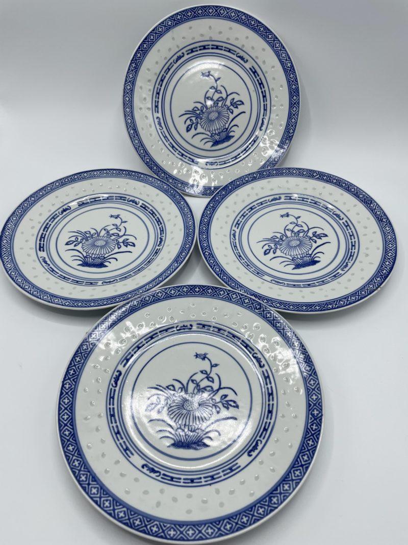 assiette asiatique chinoise bleu