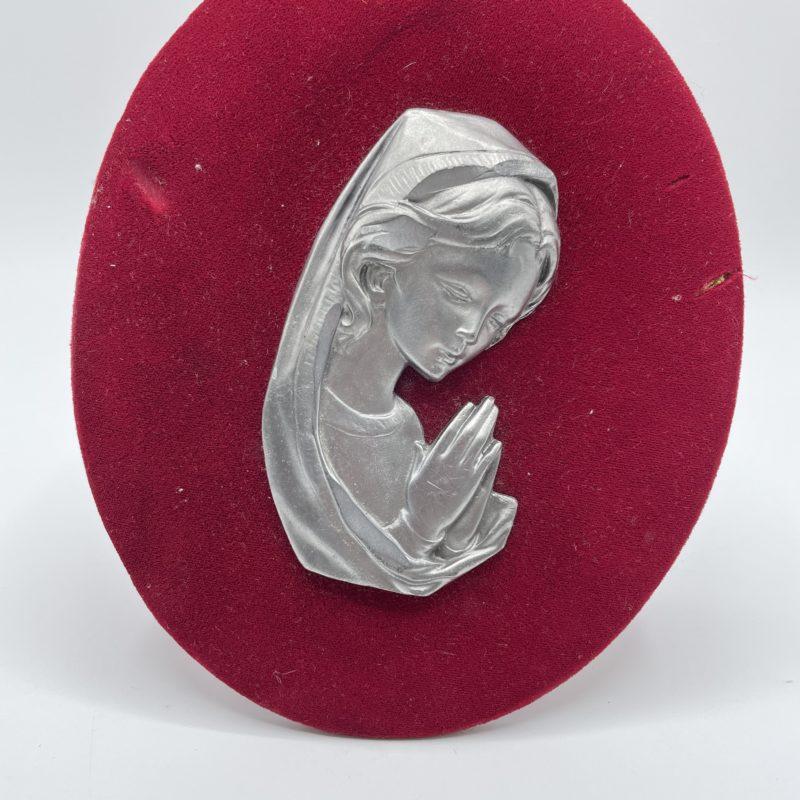 bondieuserie cadre chevalet devotion marie vierge velours rouge etain