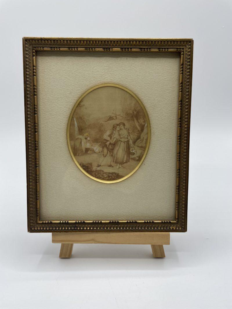 cadre bois vintage ancien gravure