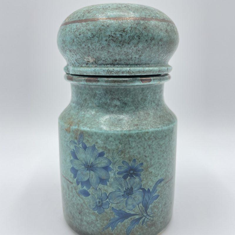 bocal pot terre cuite email bleu vintage