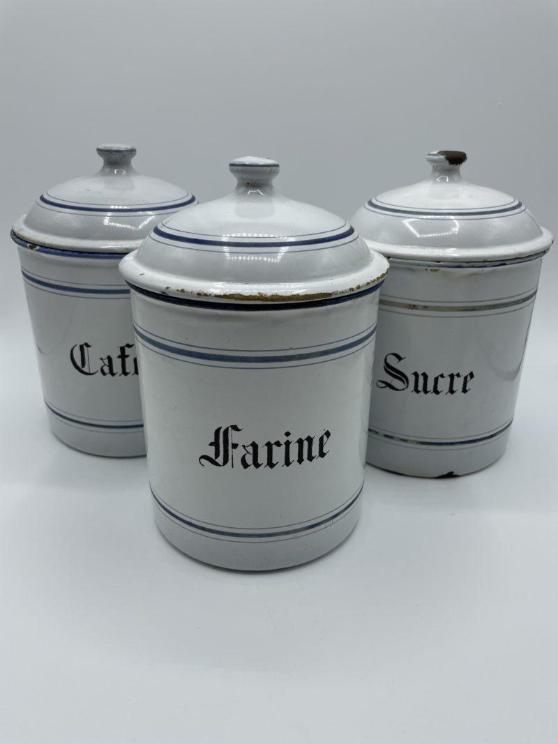 pot epices metal ancien vintage email tole blanc bleu sucre farine cafe