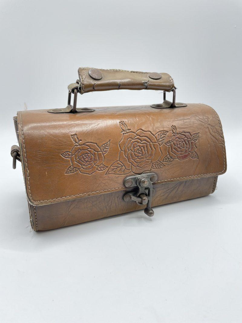 sac main cuir vintage mallette ancien