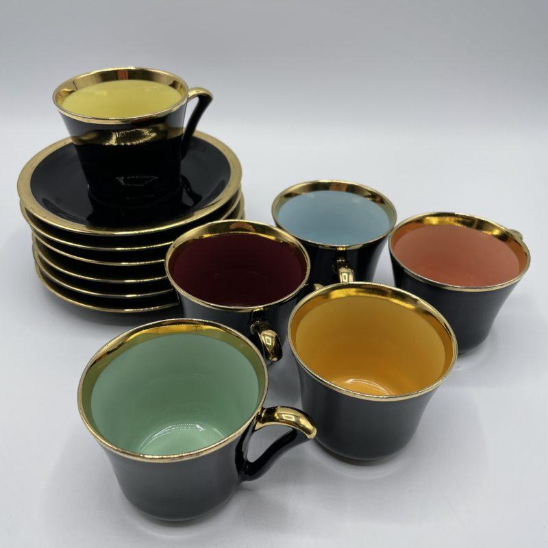 servce cafe porcelaine porcelac vintage noir