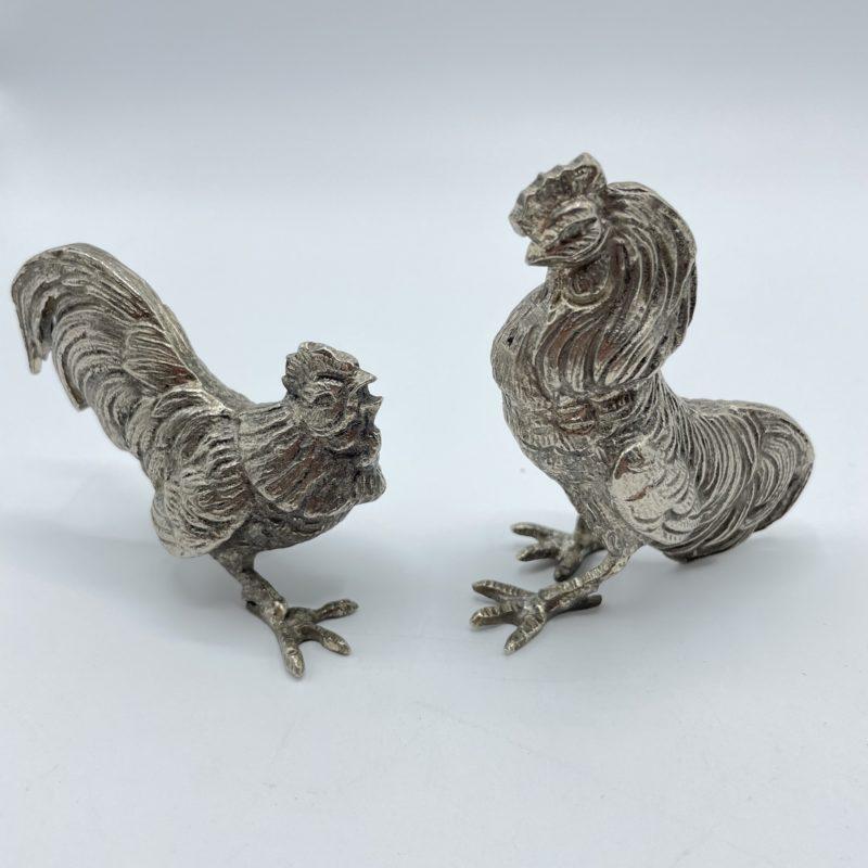 coq combat statue deco vintage metal argent