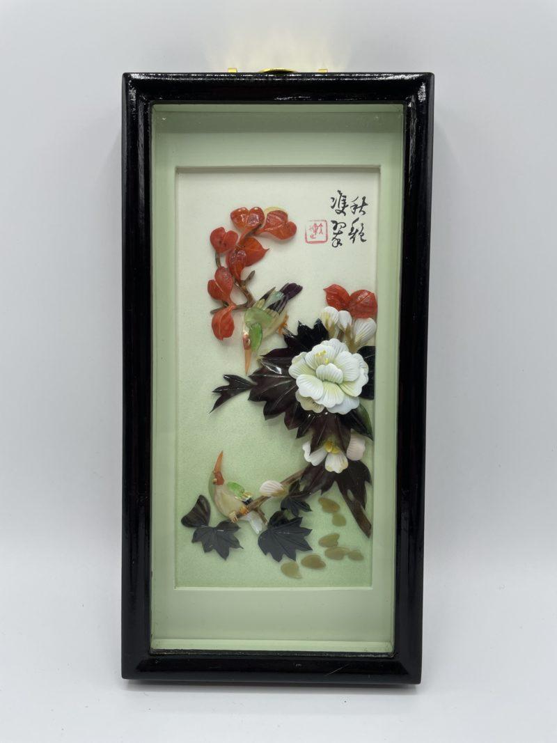 tableau care chinois bois laque noir relief