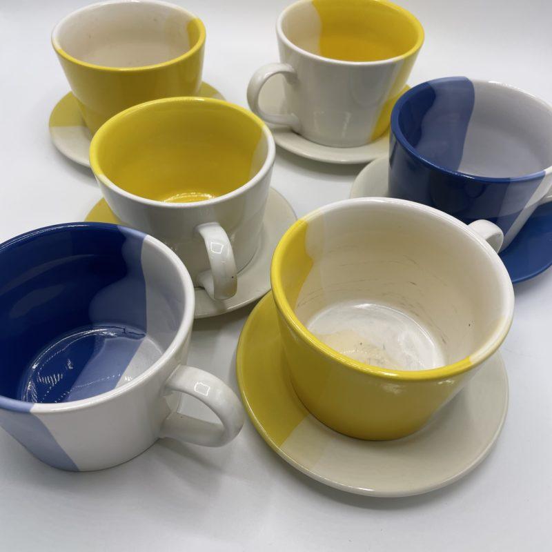 tasses mugs jaune bleu made in england